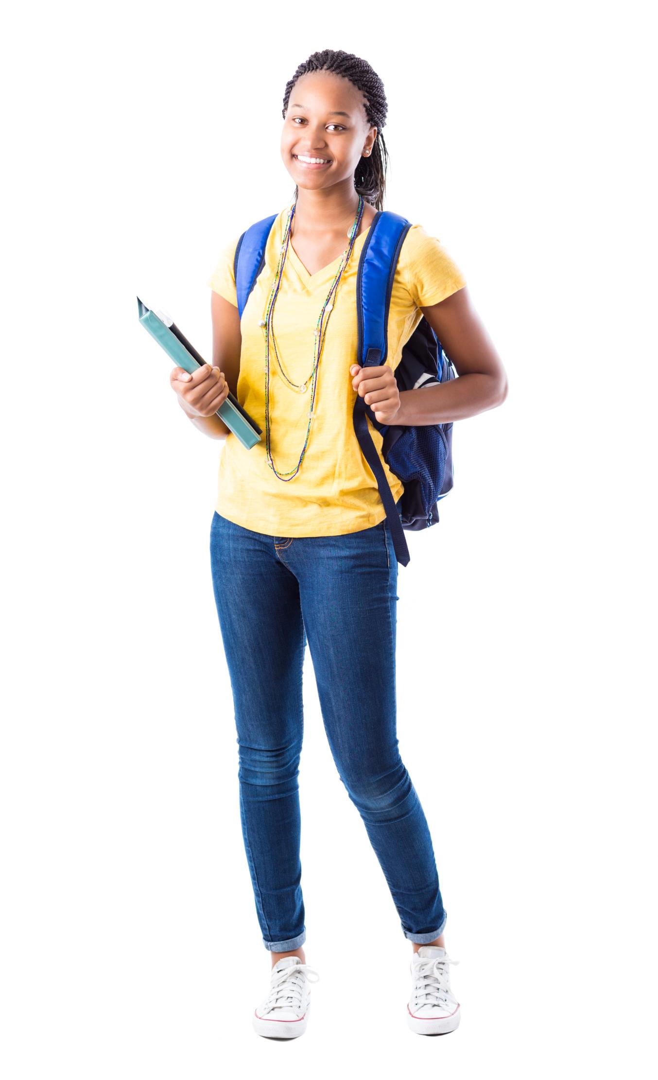 Full length portrait of African American high school girl
