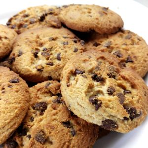 Close-Up Of Chocolate Chip Cookies In Plate