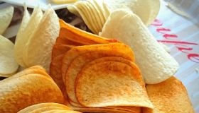 Close-Up Of Potato Chips In Plate