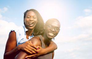Black couple cheerful portrait