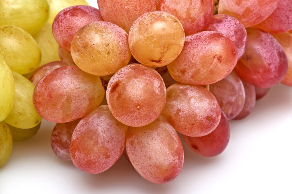 Two sorts of grapes on table