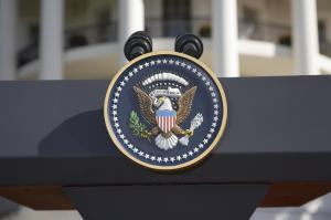 USA, Washington DC, Presidential Seal on podium in front of The White House, close-up