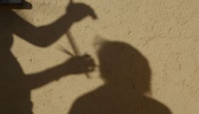 Shadow Of Barber Cutting Hair On Wall
