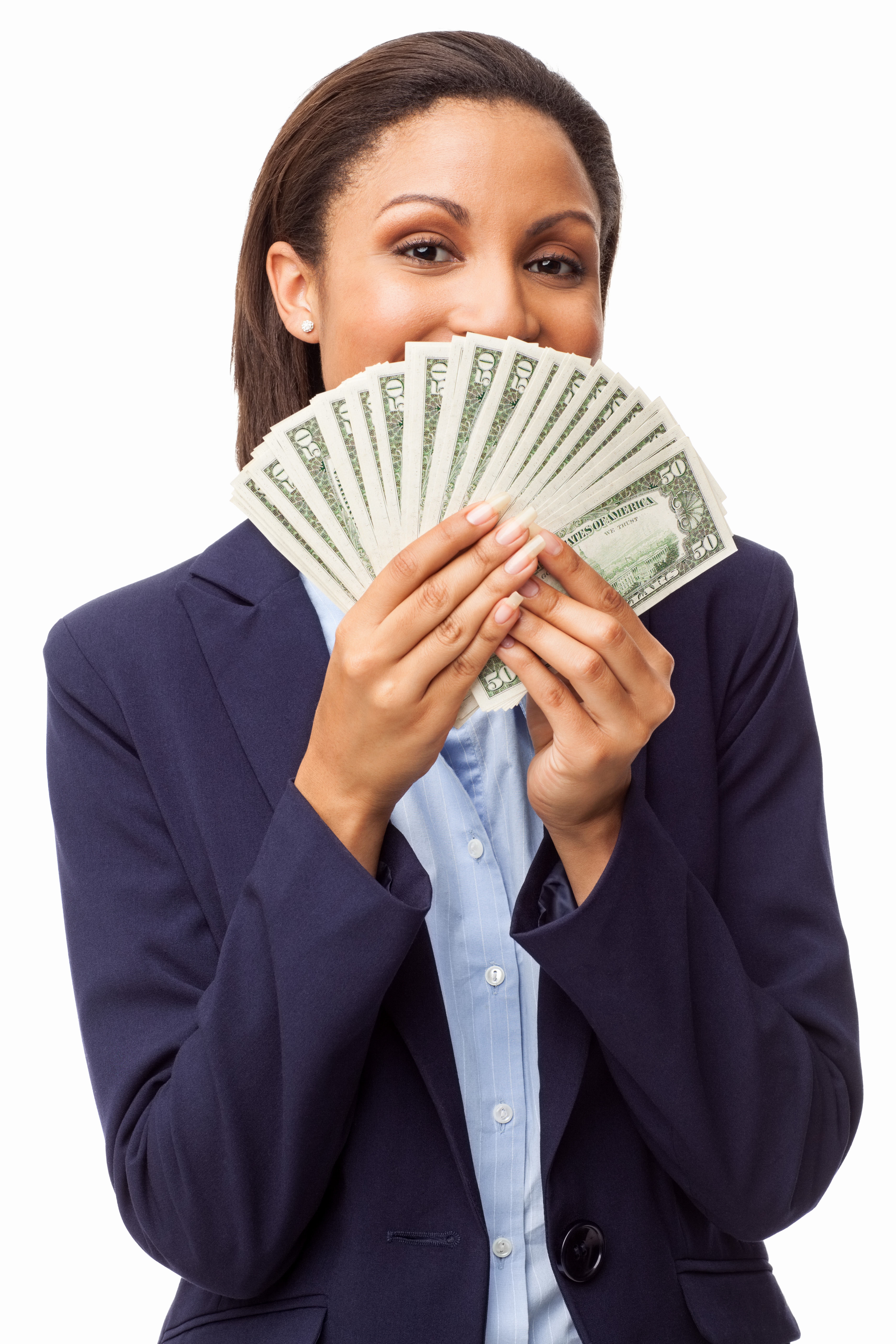 Female Executive Holding Fanned Out Banknotes - Isolated