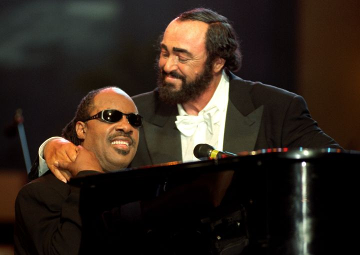 Luciano Pavarotti and Stevie Wonder