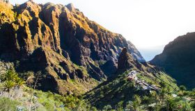 Stunning landscape in the Tenerife island with town on top of mountain taken from viewpoint during travel vacations in the island.
