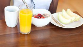 Healthy breakfast at brown table
