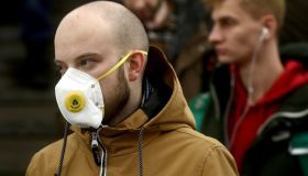 Commuters wear face masks on Moscow Underground