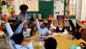 Principal Visiting Students at Corporate Community School