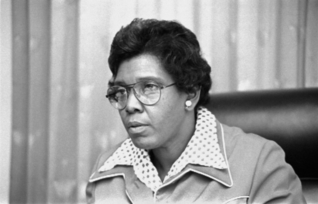 US Congresswoman Barbara Jordan, Head and Shoulders Portrait Seated in Congressional Chamber, Washington DC, USA, Thomas OHalloran, April 7, 1976