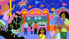 Families at a carnival